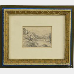 American School, 20th Century    Landscape Sketch: River and Hills