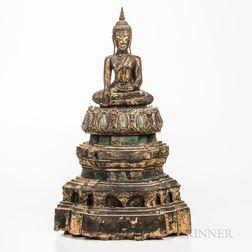 Giltwood Seated Buddha