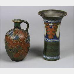 Gouda Pottery Vase and Jug
