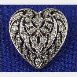 14kt White Gold Heart Pendant/Brooch