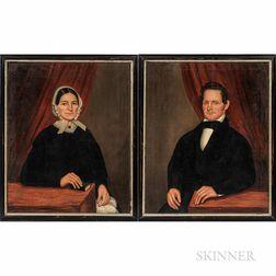 Joseph Goodhue Chandler (Massachusetts/New York, 1813-1884)      Pair of Portraits of Charles Parsons and Sylvia B. Parsons