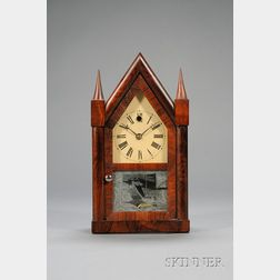 Rosewood Miniature Steeple Clock by Theodore Terry & Company
