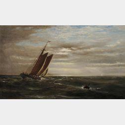 Edward Moran (American, 1829-1901)      Sail on the High Seas at Dusk