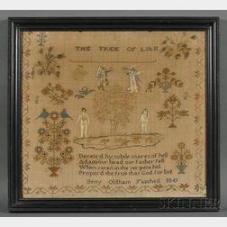 Needlework Adam and Eve Sampler