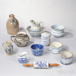 Twelve Pieces of Blue and White Stoneware