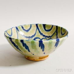 Green- and Blue-glazed Pottery Bowl