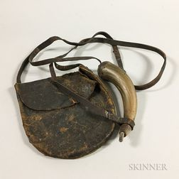 Leather Hunting Pouch and a Powder Horn