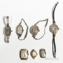 Seven 14kt Gold Art Deco Lady's Wristwatches