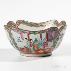 Rose Medallion Export Porcelain Shaped Serving Bowl