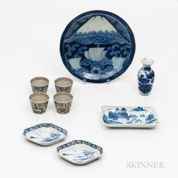 Nine Japanese Blue and White Porcelain Items