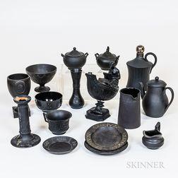 Fifteen Wedgwood Black Basalt Items