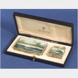 Silver and Enamel Tobacco Box and Lighter for Alfred Dunhill, Ltd.