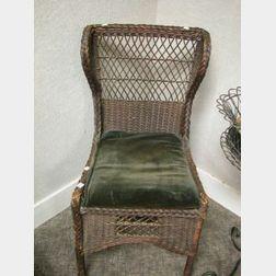Heywood-Wakefield Dark Stained Wicker Chair.