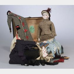 Early Premiere Jumeau Bisque Head Lady Doll with Wardrobe and Trunk
