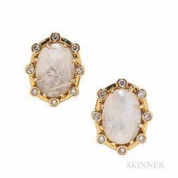 Tony Duquette 18kt Gold, Moonstone, and Diamond Earclips