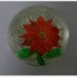Poinsettia and Lattice Art Glass Paperweight