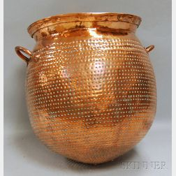 Large Globular Wrought and Pierced Copper Sieve