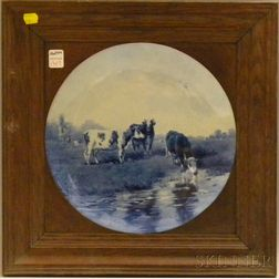 Oak Framed Delft Hand-painted Landscape with Cows Scenic Ceramic Plaque