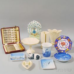 Twelve Assorted Mostly American and Continental Porcelain Articles