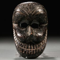 Wooden Mask of a Bearded Man