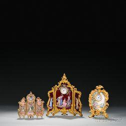 Three Viennese Enameled Gilt-metal Table Clocks