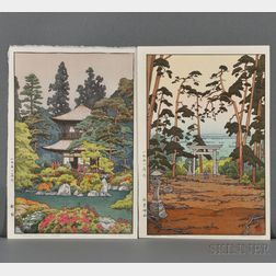 Toshi Yoshida (1911-1995), Two Color Woodblock Prints