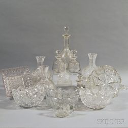 Fourteen Cut Glass Items