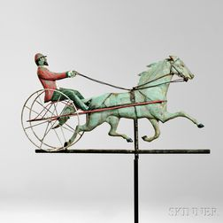 Molded and Polychrome Decorated Horse and Sulky Weathervane