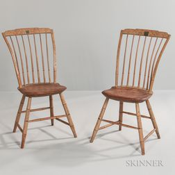 Pair of Paint-decorated Bamboo-turned Tablet-back Windsor Side Chairs