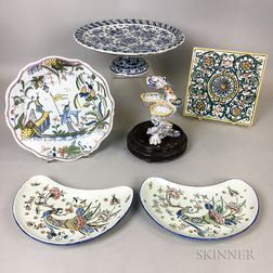 Six Polychrome Delft and Faience Items