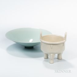 Two White-glazed Ceramic Items