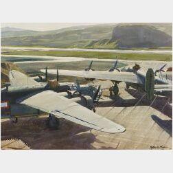 Ogden Minton Pleissner (American, 1905-1983)  The Bomber Revetments at Adak