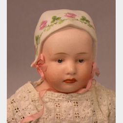 Heubach Bisque Shoulder Head Girl with Molded Bonnet