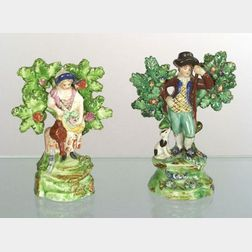 Two Staffordshire Pottery Bocage Figures