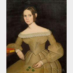 Attributed to Ammi Phillips (Kent, Litchfield County, Connecticut area, 1788-1865)    Portrait of Augusta Maria Foster, c. 1836.