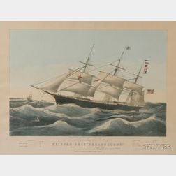 "Framed Lithograph Clipper Ship ""Dreadnaught."" Off Sandy Hook..."