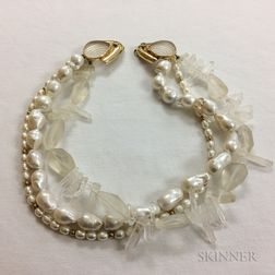 Rock Crystal and Pearl Triple-strand Necklace