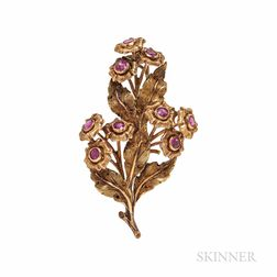 Mario Buccellati 18kt Gold and Ruby Flower Brooch