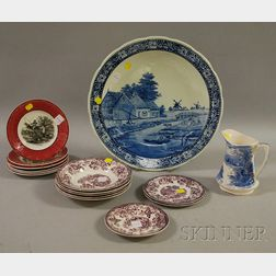 Sixteen Pieces of Assorted Transfer-decorated Ceramics