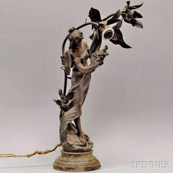 Art Nouveau Patinated Cast Metal Figural Reine de Pres   Table Lamp