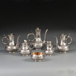 Six-piece Gorham Coin Silver Civil War Presentation Tea Set
