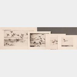 Frank Weston Benson (American, 1862-1951)    Four Waterfowl Prints: Dawn