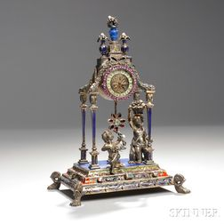 Viennese Silver, Enamel, Lapis Lazuli, Beaded Pearl, and Jeweled Clock