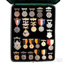Group of Late 19th Century Mostly Enameled Gold, Silver, and Copper Sporting Medals