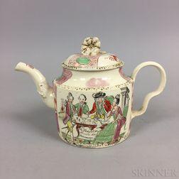 "Leeds Creamware ""Prodigal Son"" Ceramic Teapot"