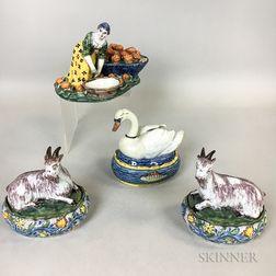 Four Dutch Polychrome Ceramic Boxes