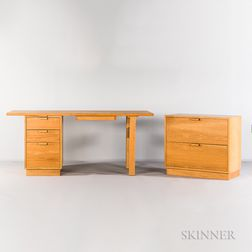 Charles Webb Oak Desk and File Cabinet