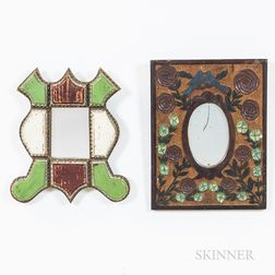 Two Folk Art Mirrors and a Painted Wall Box