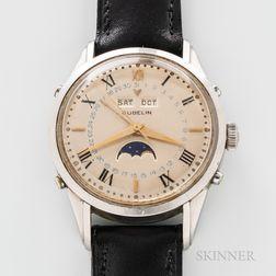 Stainless Steel Gubelin Triple-calendar Moon's Phase Wristwatch