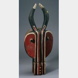 African Painted Carved Wood Mask